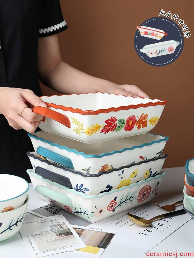 Square ears paella heat - resistant ceramic bowl household dinner plate oven dedicated creative new tableware