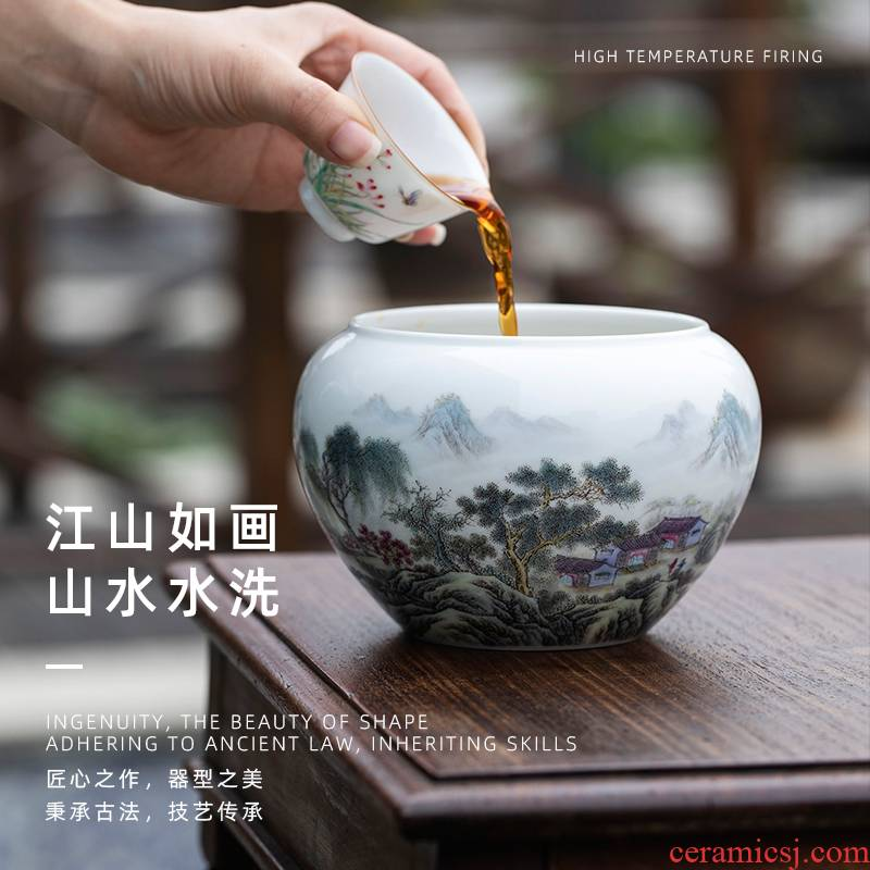 Wash to jiangshan picturesque landscape of jingdezhen ceramic tea kungfu tea accessories large pure manual painting