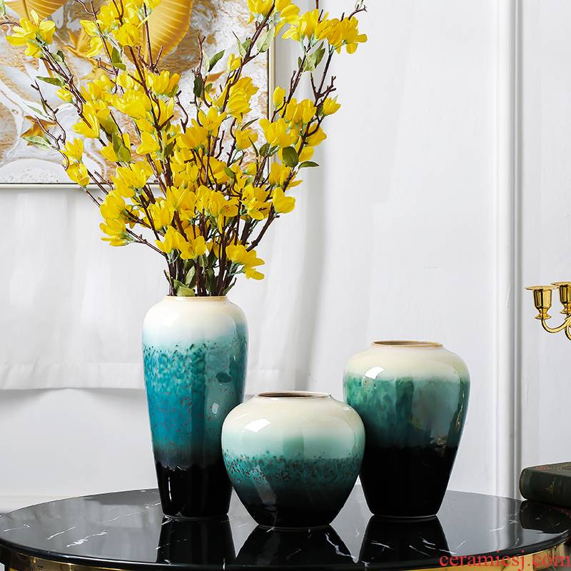 Jingdezhen ceramics dried flower vase furnishing articles flower arrangement sitting room decoration of Chinese style household TV cabinet table decorations