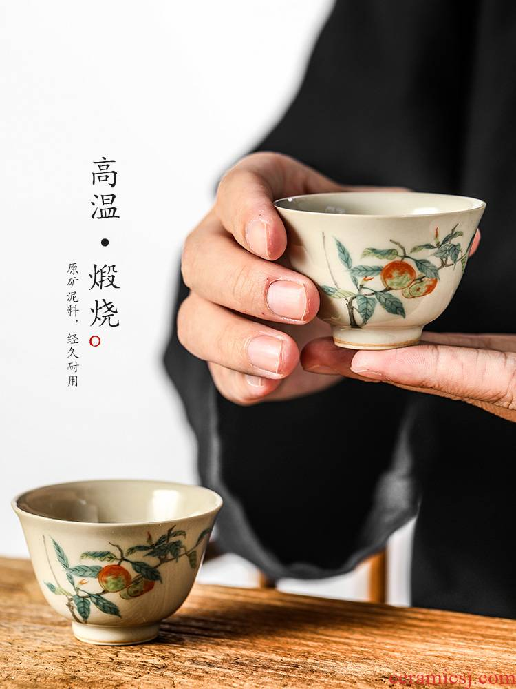 Jingdezhen hand - made sample tea cup one kung fu master cup cup of pure manual single cups of tea plant ash glaze ceramic