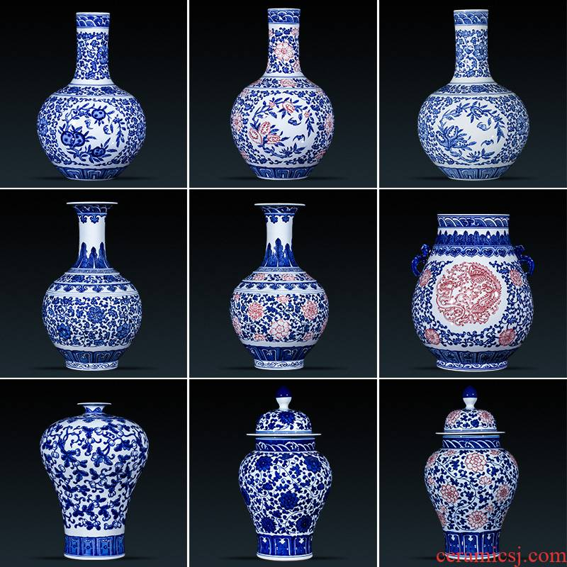 Jingdezhen ceramics vase furnishing articles antique hand - made flower arranging Chinese style household adornment blue and white porcelain is the living room