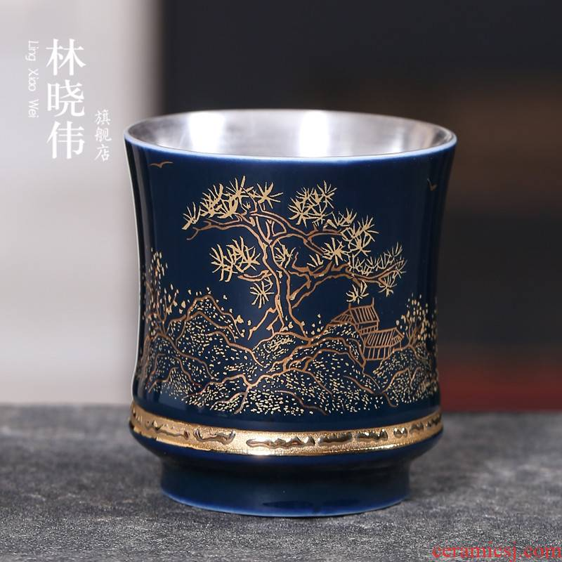 999 sterling silver tea set gold silver cup silver cup bladder kung fu masters cup process ceramic coppering. As silver sample tea cup