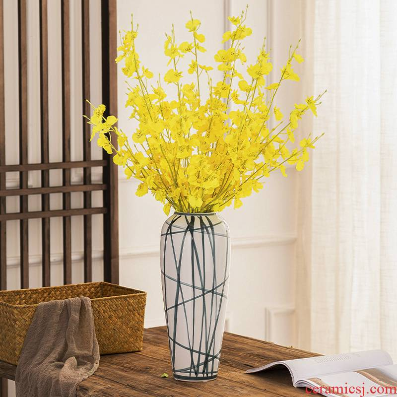Ceramic dry flower decoration water raise floret bottle furnishing articles Nordic sitting room TV ark, creative flower arranging contracted household act the role ofing is tasted