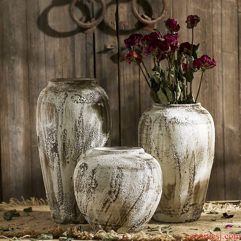 Ceramic checking zen coarse pottery archaize do old pottery flower implement art of Chinese style of primitive simplicity vase flower arranging furnishing articles in the living room