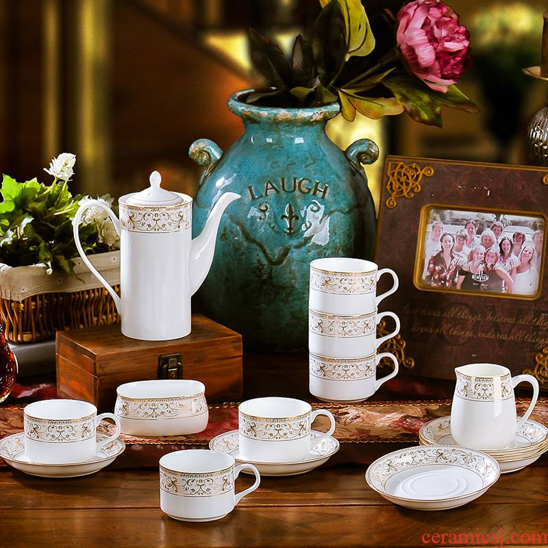 Porcelain coffee cup suit European contracted up phnom penh ipads Porcelain coffee cup tea cups and saucers afternoon tea set