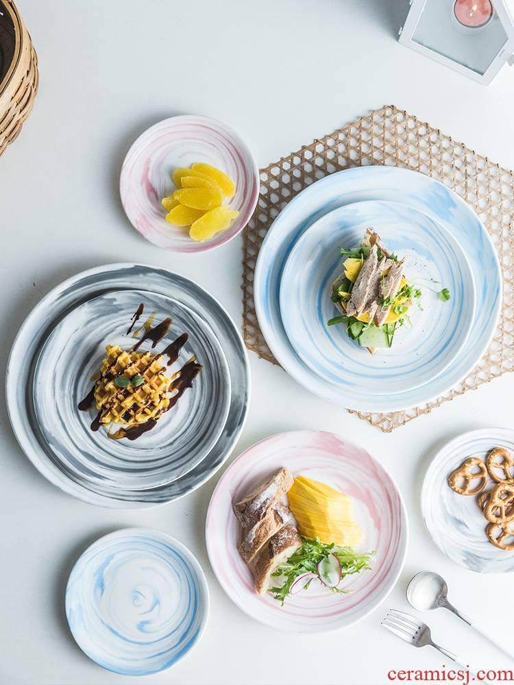 Scene ruyi ins Nordic marble plate household ceramics breakfast food dish plate plate web celebrity photos dinner plate