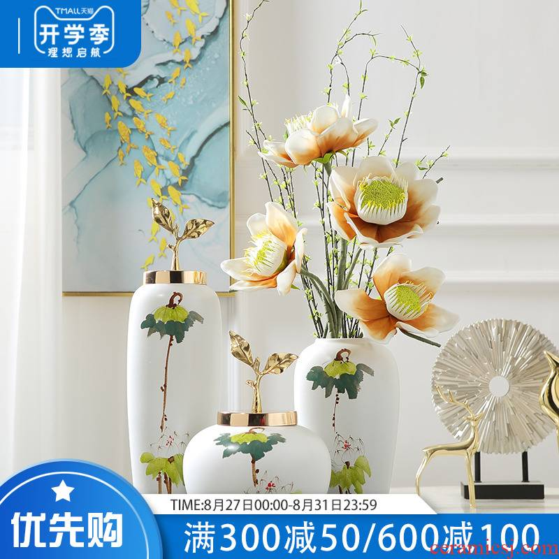 The new Chinese vase furnishing articles ceramic hand - made vases desktop arranging flowers sitting room adornment table, TV ark, furnishings