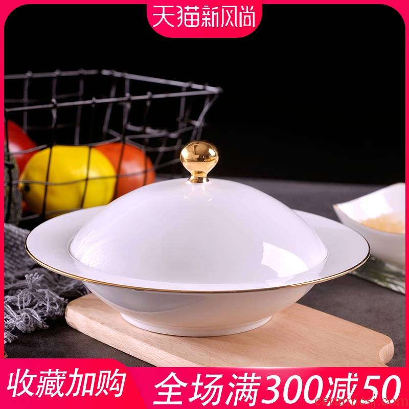 Palace type manual gold 】 【 food dish of jingdezhen porcelain ipads soup bowl with cover household hotel creative ceramic plate