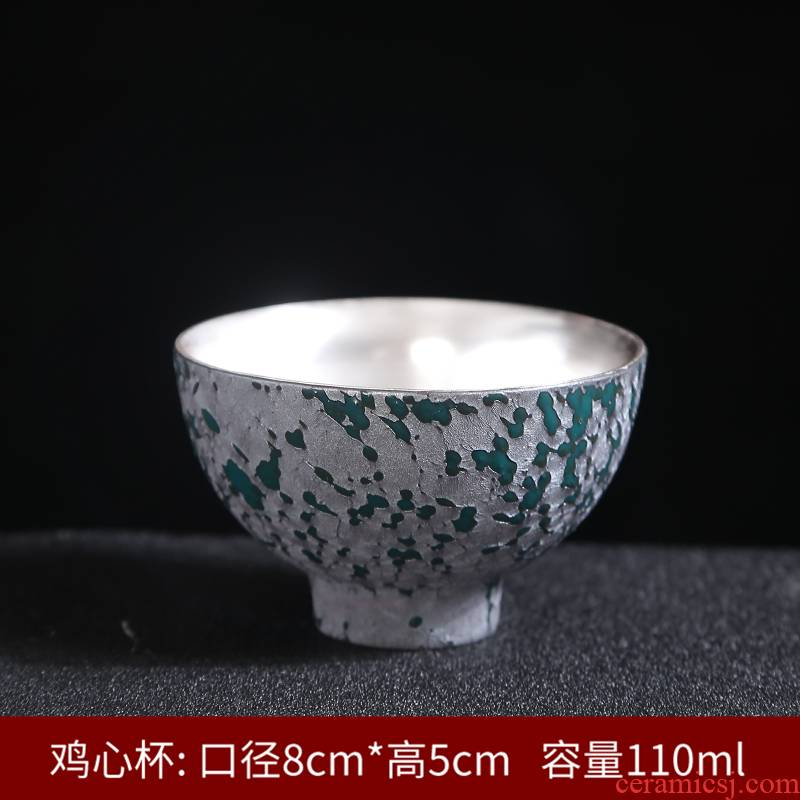 999 Sterling silver tea set gold silver cup silver cup bladder sample tea cup ceramic tasted silver gilding craft kung fu masters cup