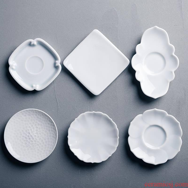 Ceramic film blue cup mat cup mat Japanese manual cup tea accessories six zen tea saucer base