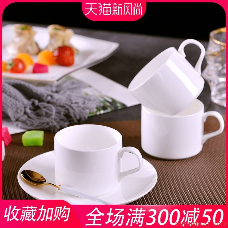Pure white glass household jingdezhen ceramic cup coffee milk cup Europe type contracted coffee cups and saucers ipads China