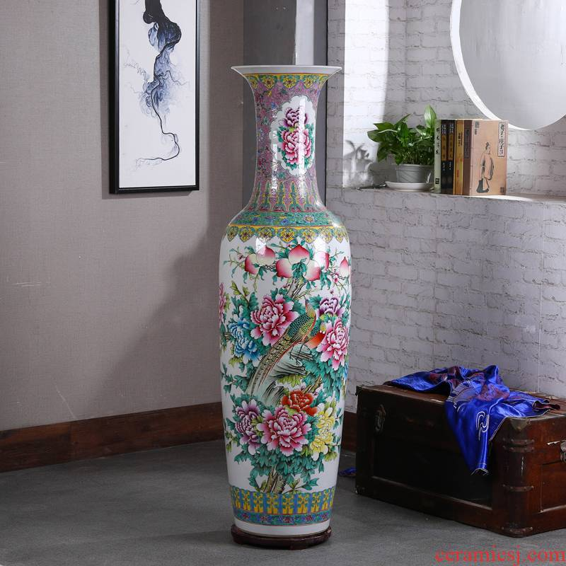 Jingdezhen ceramics to heavy ground vase archaize powder enamel hand - made sitting room hotel opening gifts furnishing articles