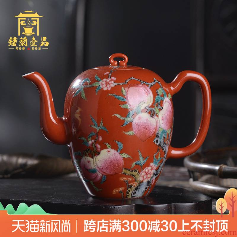 Jingdezhen ceramic all hand alum peach red paint powder enamel nine beauty shoulder pot kung fu tea teapot xi shi pot