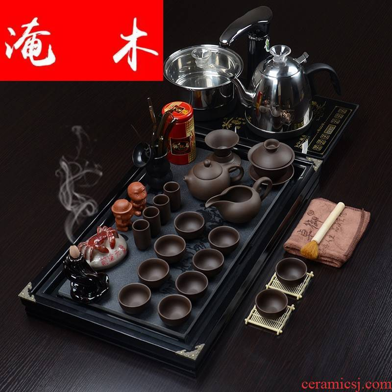 Submerged wood business needs solid wood and plate of kung fu tea tray ceramic tea set suit four and fully automatic