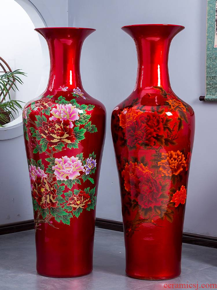 Jingdezhen ceramics China red peony vase of large living room TV ark, high place extra large opening