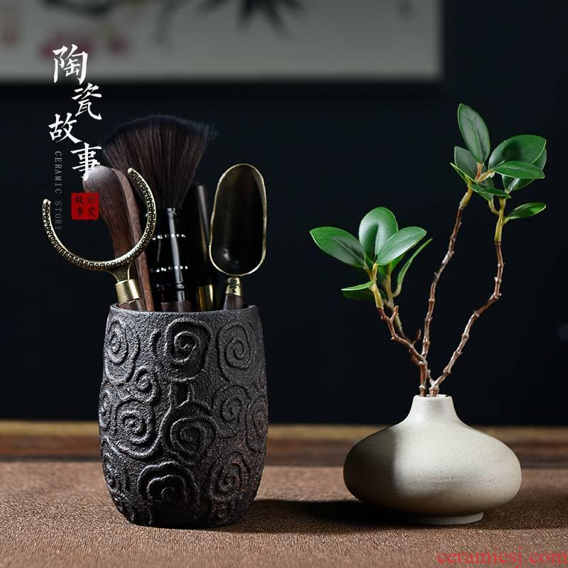 The Story of pottery and porcelain tea six gentleman 's suit tea cup mat knife caddy fixings tea kungfu tea set tool parts books