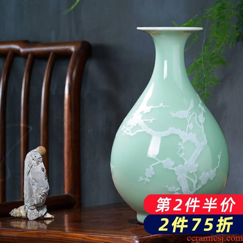 Jingdezhen ceramics green glaze floret bottle of archaize sitting room of Chinese style household flower decoration wine handicraft furnishing articles