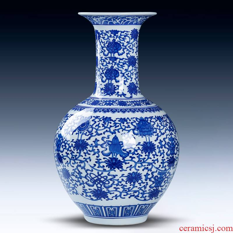 Jingdezhen porcelain ceramic blue and white porcelain antique flower arrangement sitting room adornment of Chinese style household porcelain vase furnishing articles