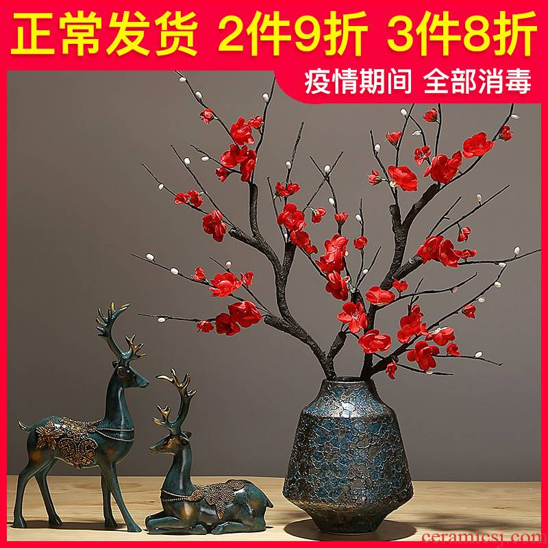 The New Chinese vase creative checking ceramic sitting room porch dried flowers flower arrangement furnishing articles contracted modern TV ark, decoration