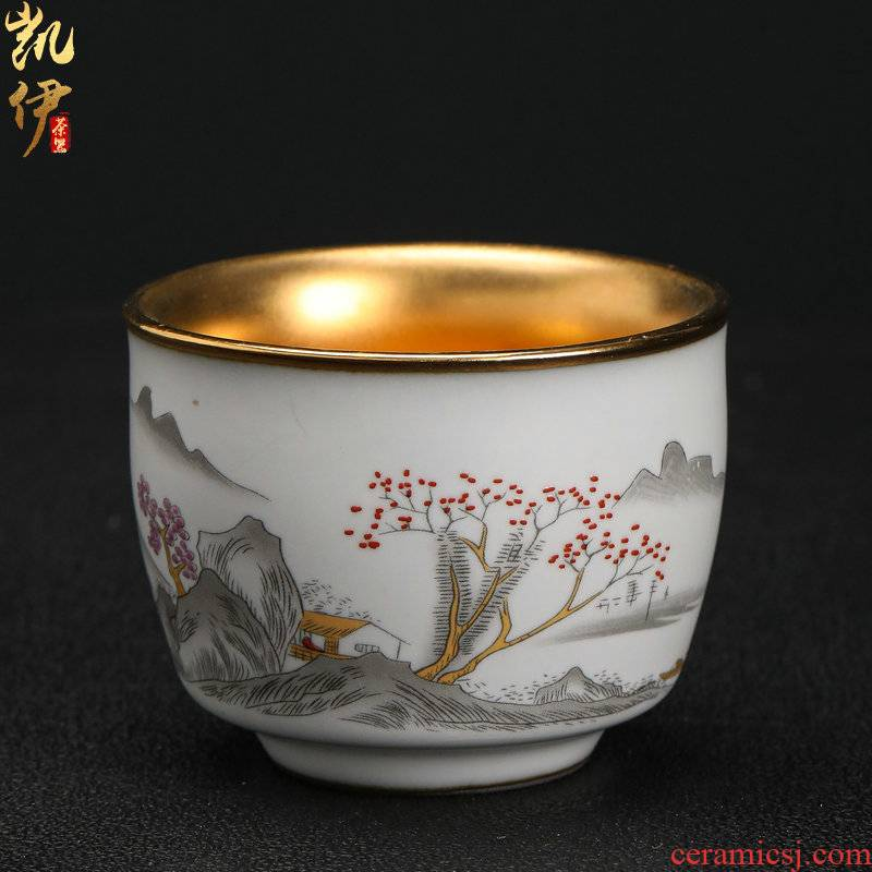 Gold on your up hand - made master kung fu tea cup sample tea cup jingdezhen ceramics snowflakes cup silver cup