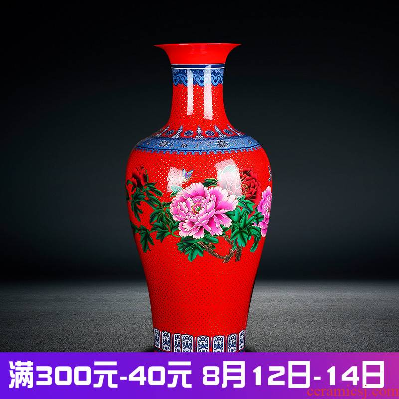Jingdezhen ceramics landing large vases, flower arranging, the sitting room porch villa home furnishing articles red gold pearl glaze