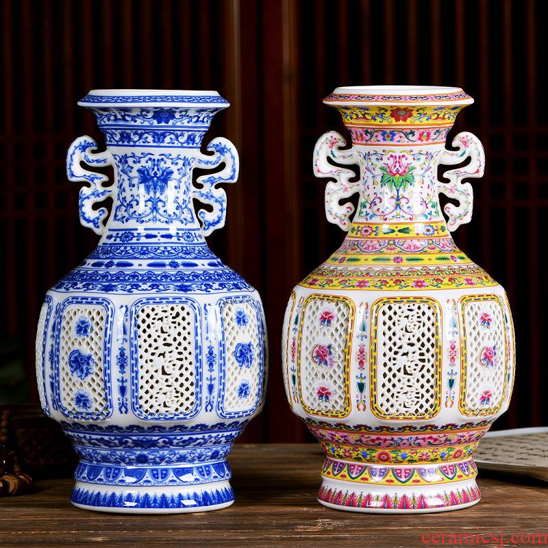 Jingdezhen ceramics creative hollow out the ear vase of new Chinese style household porcelain of flower arrangement sitting room adornment is placed