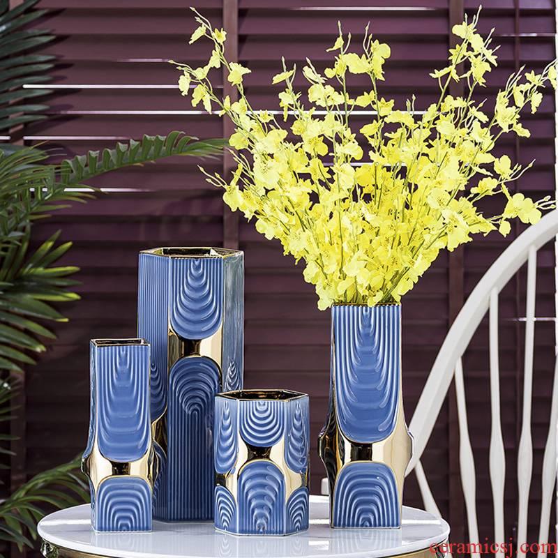 Modern Nordic ceramic vase furnishing articles creative flower arranging false dried flowers, flowers light sitting room key-2 luxury flower implement guest room decoration
