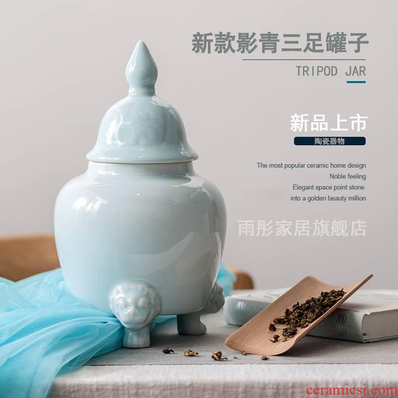 Jingdezhen ceramic tea pot shadow blue glaze three - legged storage tank vessel contracted practical modern decoration home furnishing articles