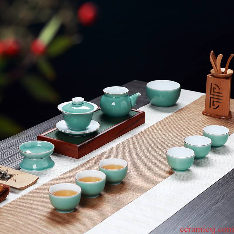 Jingdezhen color glaze porcelain kung fu tea set blunt tea ware home outfit tureen of a complete set of ceramic tea cups