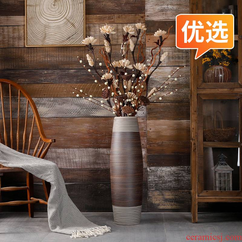 Sitting room ground vase furnishing articles ceramics large vases, flowers, dried flowers, flower arrangement to restore ancient ways suit American light key-2 luxury decoration