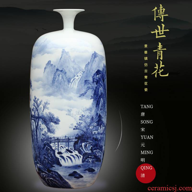 Mesa of jingdezhen hand - made landscape painting ceramic vases, sitting room place, the study of modern Chinese arts and crafts decorations