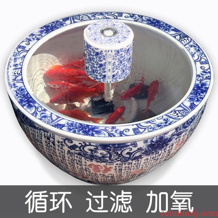 The Fish dishes porcelain jar submersible pump bowl goldfish bowl circular glass tile cylinder filter pottery decorative landscape circular cylinder