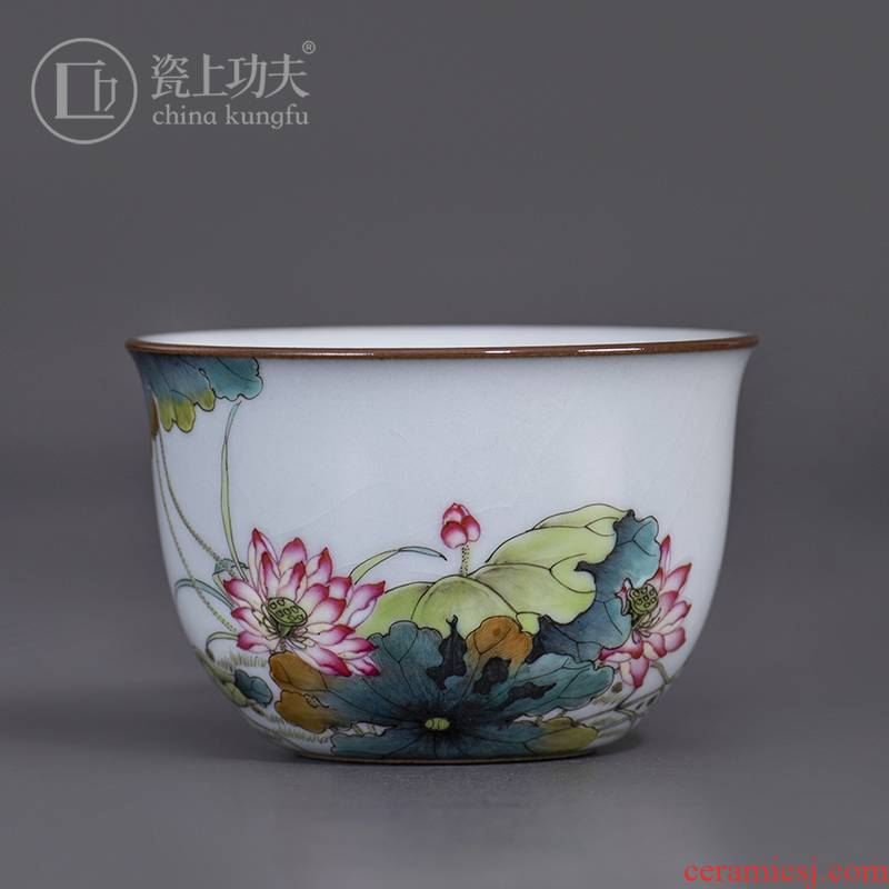 Jingdezhen your up ceramic manual hand - made cylinder cup your porcelain enamel cup sample tea cup master cup kung fu tea set