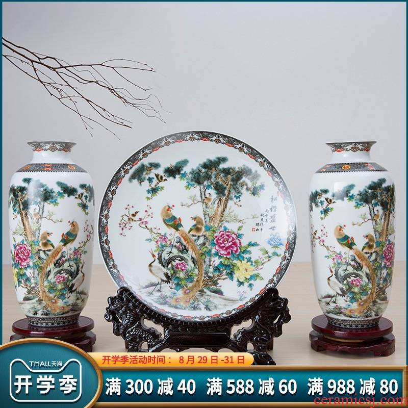100 jingdezhen ceramics pastel landscape three - piece vases, hang dish home decorations crafts table sitting room