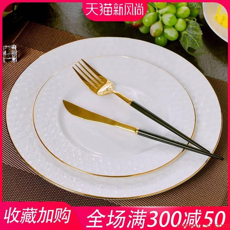 Jingdezhen European - style home up phnom penh ipads porcelain plates anaglyph steak dishes suit round ceramic west pot dish