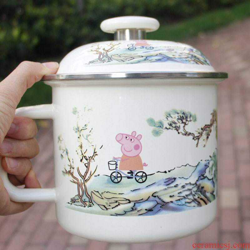With enamel keller cup move flowers nostalgic students tea urn large - capacity glass cup noodles lunch box cover
