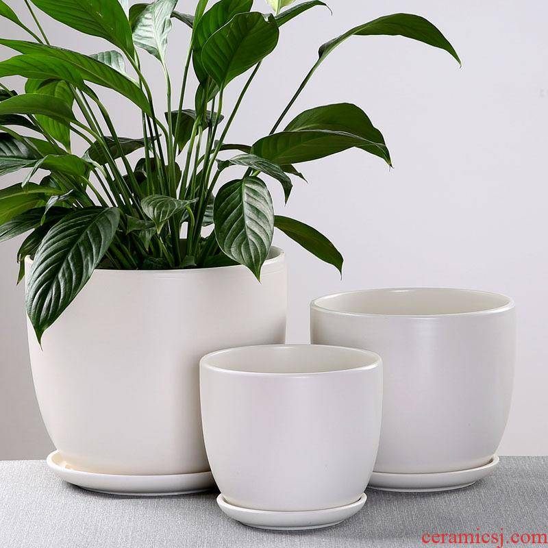 Europe type flowerpot ceramic sale household contracted large clearance with extra large tray was small flowerpot more than other meat