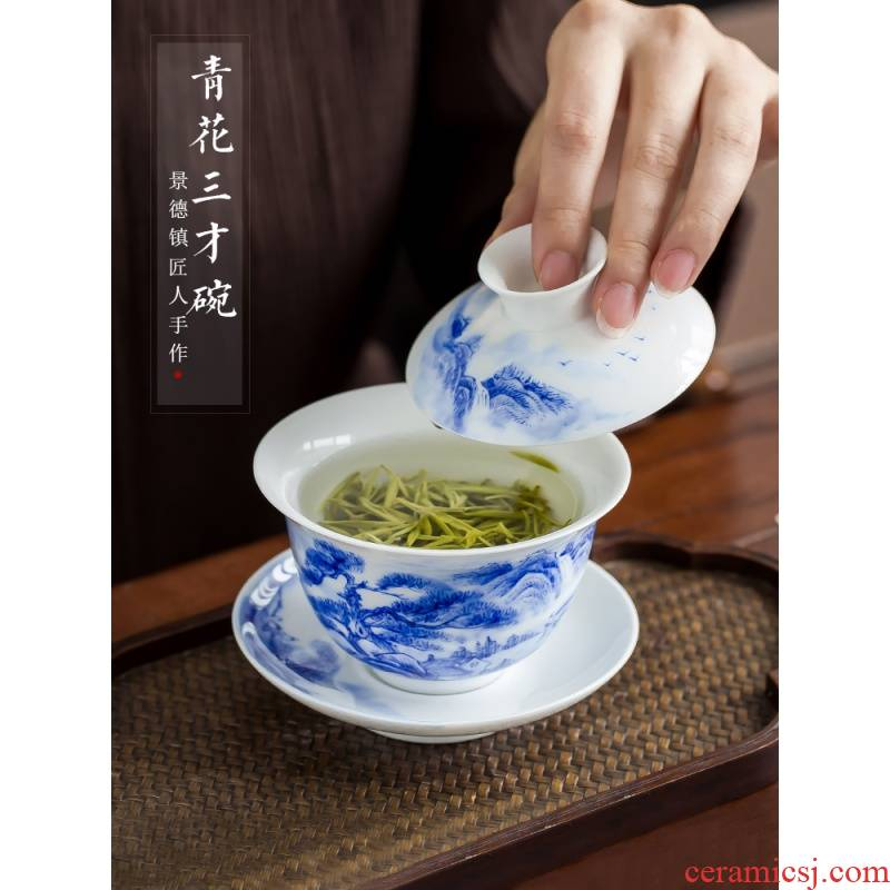 The Poly real scene of jingdezhen porcelain kung fu tureen hand size blue and white porcelain ceramic tea set three cups to tea