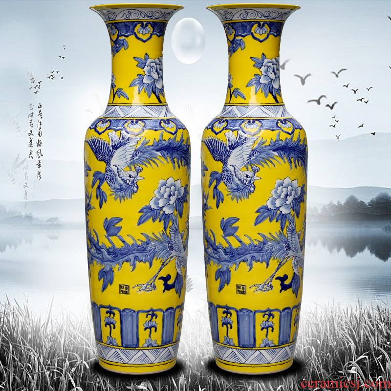 Jingdezhen ceramic yellow glaze hand - made phoenix peony of large vases, living room decoration to the hotel Chinese style household furnishing articles
