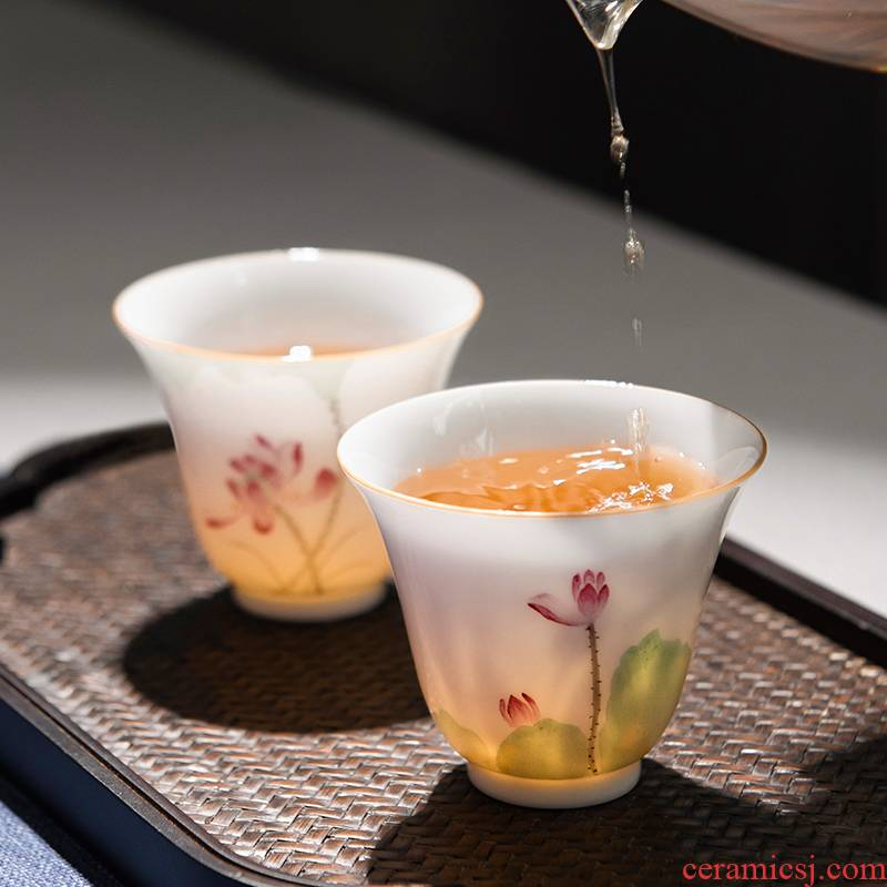 Jingdezhen ceramic kung fu tea set hand - made pastel noggin thin foetus masters cup cup woman pure checking sample tea cup