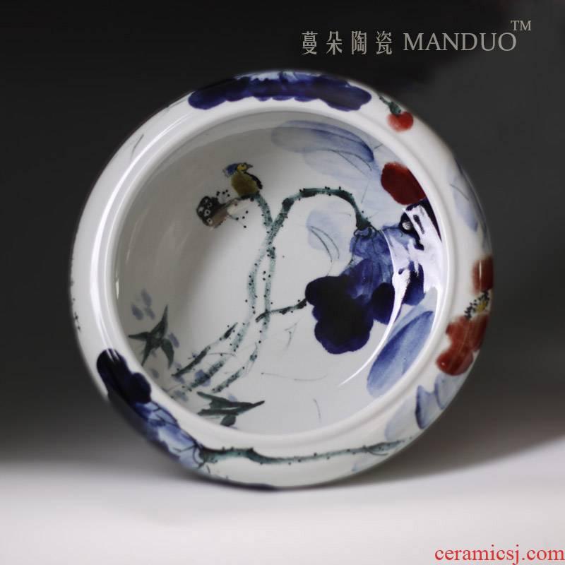 Hand - made porcelain lotus goldfish bowl of high - grade ceramic goldfish bowl fashion beautiful goldfish turtle cylinder shallow water