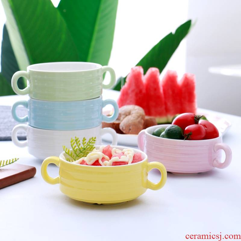 Qiao mu WLS ceramic ears household bowls bowl bowl bowl large baby breakfast cereal bowl of Japanese