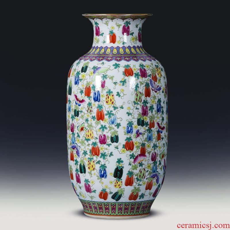 Jingdezhen ceramic antique vase furnishing articles landing large idea gourd bottle of Chinese style household living room TV cabinet decoration