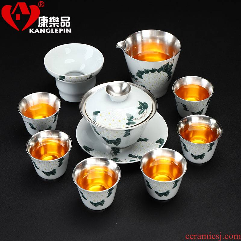 Recreational product kung fu tea set home office coppering. As gold silver 999 white porcelain tureen. A complete set of tea cups