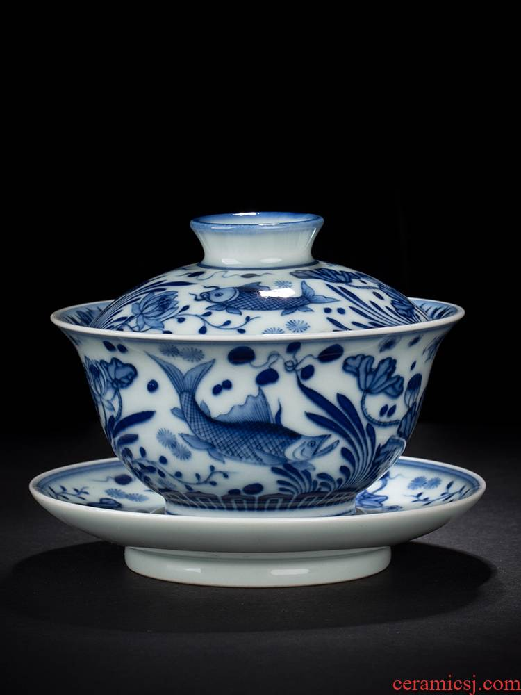 Jingdezhen blue and white only maintain three hand - made tureen tureen single cups of tea tureen algal lines make tea firewood fish bowl