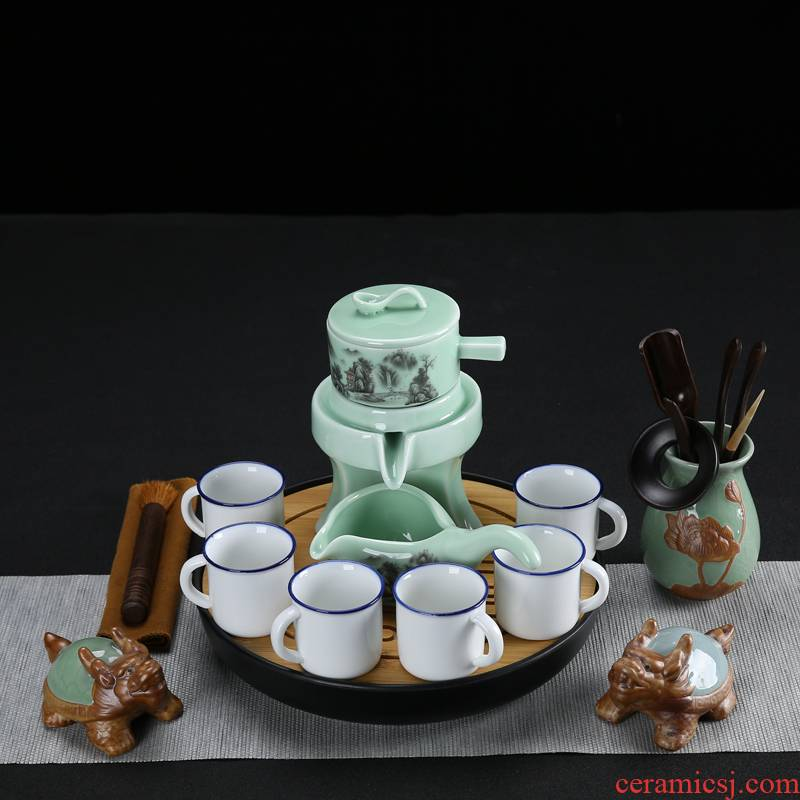 Celadon lazy stone mill tea sets ceramic violet arenaceous household kung fu semi - automatic shell hot cup teapot originality