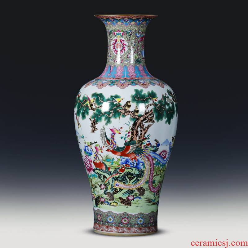 Jingdezhen ceramics of large vase furnishing articles large birds pay homage to the king, porcelain antique Chinese style household ornaments