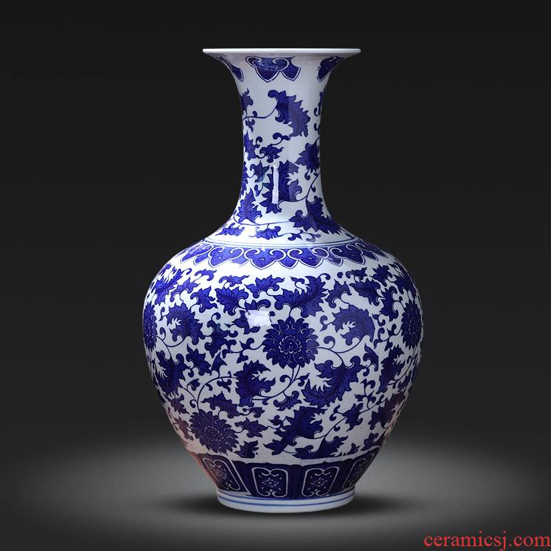 Jingdezhen porcelain ceramic insert large vase of blue and white porcelain of new Chinese style living room home TV ark adornment furnishing articles