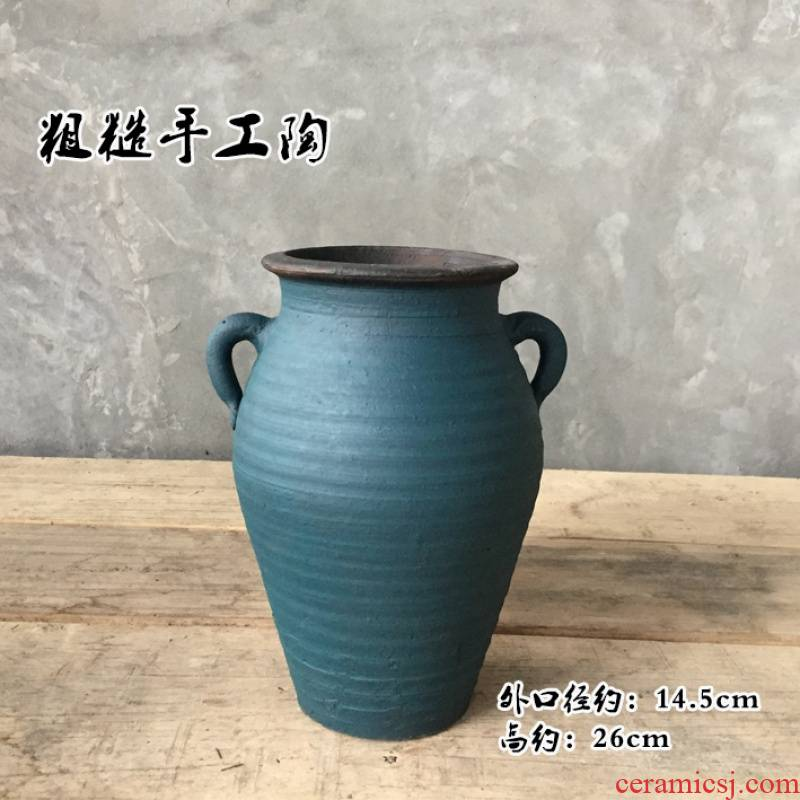 Insert the to embellish make Yang do old vase dry flower pot coarse pottery mage old running the retro clay earthenware vase shallow basin