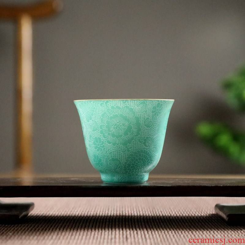 Jingdezhen kung fu flower tea cups with ceramic up master cup single CPU female male high - end checking move